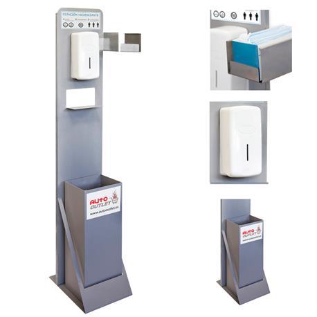 TOT500AL Tótem Estación Higienizante con Dispensador Manual, Papelera y Soporte Cajetín