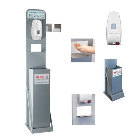 TOT500AUT Tótem Estación Higienizante con Dispensador Automático, Papelera y Soporte Cajetín