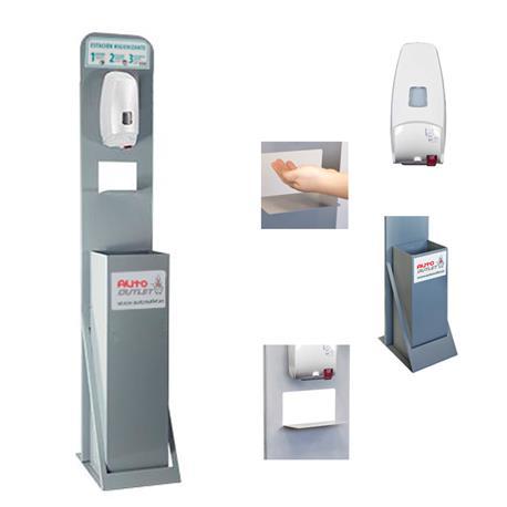 TOT500AUT Tótem Estación Higienizante con Dispensador Automático y Papelera