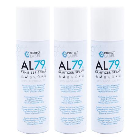 Pack 3 Hidroalcohol en Spray 200 ml. Protect Label Higienizante multisuperficies 70% Alcohol