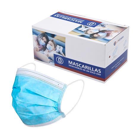 Caja 50 Mascarillas Protectoras Desechables Azul con clip nasal Talla Adulto Lindeman