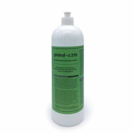 GLOBAL -C210 Desinfectante Hidroalcohólico Profesional Superficies y Antiséptico de manos, 1 Litro