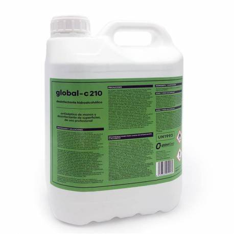 GLOBAL -C210 Desinfectante Hidroalcohólico Profesional Superficies y Antiséptico de manos, 5 Litros