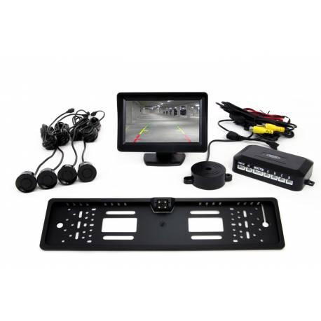 Sistema 4 Sensores de Aparcamiento con pantalla TFT 4,3' cámara CAM-402 (Marco Matrícula), 18-22mm, varios colores