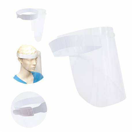 Pack 10 Pantallas Visera Protección Facial Policarbonato Transparente 355 x 220 mm.