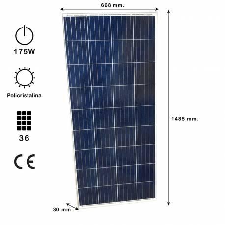 Auto Label Placa Solar Policristalina 12V 175W, 1485x668x30 mm., 36 células, Alta Eficiencia