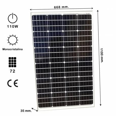 Auto Label Placa Solar Monocristalina 12V 110W, 1100x668x35 mm., Grosor 32 mm., 72 células, Alta Eficiencia
