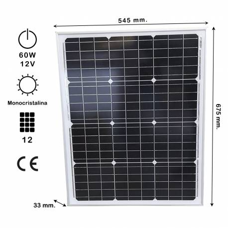 Auto Label Panel Solar Monocristalino 60W 12V, 675x545 mm., Grosor 30 mm., 12 células solares, Alta Eficiencia 14,62%