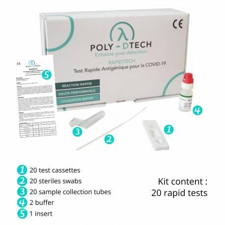 Poly-Dtech 20 kits tests rápidos antígenos RAPIDTECH virus SARS-COV-2 via bucofaríngea-nasofaríngea