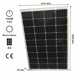 Auto Label Panel Solar Portátil Monocristalino 100W 12V, 1020x670 mm., Grosor 35 mm., 32 células, Alta Eficiencia 14,4%