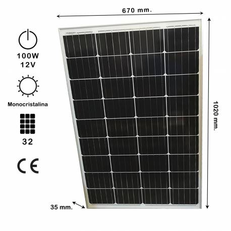 Auto Label Panel Solar Monocristalino 100W 12V, 1020x670 mm., Grosor 35 mm., 36 células, Alta Eficiencia 14,4%