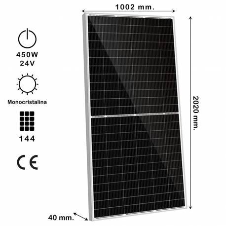 Auto Label Panel Solar Monocristalino HC 450W 24V, Celda 9BB, 2020x1002x40 mm., M-PERC, 144 células, Alta Eficiencia 24.8%