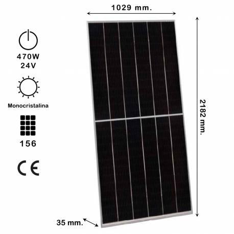 Auto Label Panel Solar Monocristalino HC, 470W 24V, 2182x1029x35 mm., M-PERC, 156 células, Alta Eficiencia 24.80%