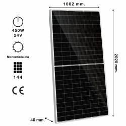 Auto Label Panel Solar Monocristalino KiroSolar 450W 1500V, 9BB M-PERC, 2182x1029x35 mm., 144 células, Alta Eficiencia 21,83%