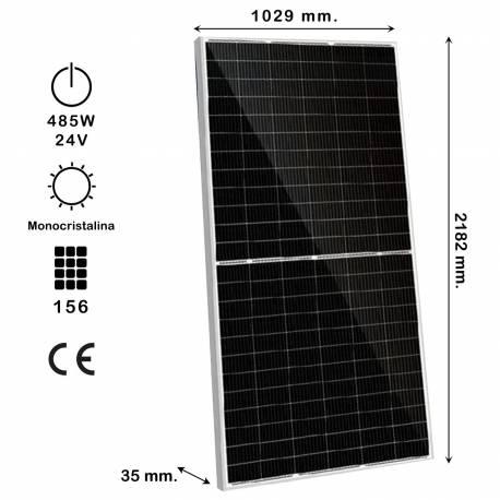 Auto Label Panel Solar Monocristalino KiroSolar 485W 1500V, 9BB M-PERC, 2182x1029x35 mm., 156 células, Alta Eficiencia 20,93%