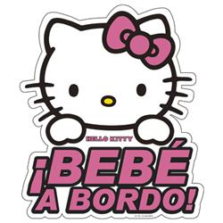 Adhesivo Cristal Bebe A Bordo Hello Kitty