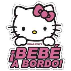 Adhesivo Cristal Bebe A Bordo Hello Kitty