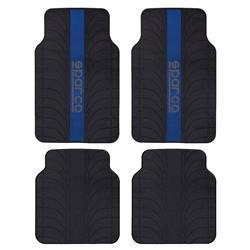 Juego 4 alfombras Sparco universales franja azul pvc/latex para el coche.