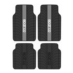 Juego 4 alfombras Sparco universales franja gris pvc/latex para el coche.