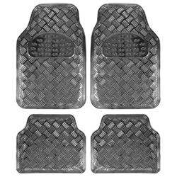 Juego 4 alfombras universales goma aluminio carbono para el coche
