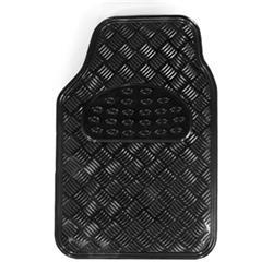 Juego 4 alfombras universales goma aluminio negro para el coche