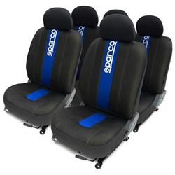 Juego completo fundas asientos negras con franjas azul Sparco para el coche.
