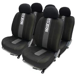 Juego completo fundas de asientos gris SPARCO. Trasera partida. Compatible Air Bag.