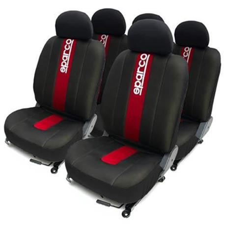 Juego completo de fundas 5 plazas asientos negras con franjas rojas sparco para el coche - Fundas para asientos de coches ...