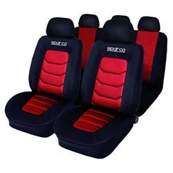 Kit completo de fundas de asiento Sparco SPC rojo.