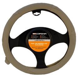 FVO10157 - Funda para el volante del coche serraje y caucho marrón claro BC Corona 37-39-