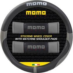 SWCK007BG - Pack Funda de volante MOMO + almohadillas cinturón negro-gris 007