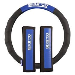 SPC1111KAZ - Set de almohadillas y funda de volante Sparco, color azul