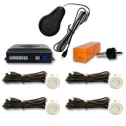 Sensor aparcamiento 4 detectores ultrasonidos Blanco y avisador acústico
