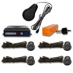 Sensor aparcamiento 4 detectores ultrasonidos Gris mar y avisador acústico