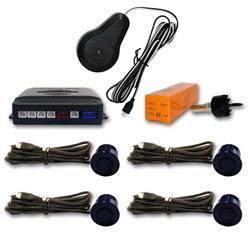 Sensor aparcamiento 4 detectores ultrasonidos Azul Marino y avisador acústico