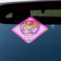LPC104 - Pegatina coche niña a bordo patrulla canina