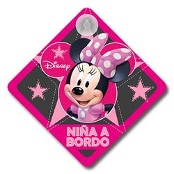 MINNIE111 - Cartel niña a bordo coche Minie Disney