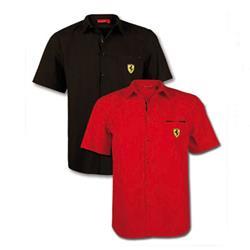Camisa hombre Ferrari escudo manga corta rojo talla M