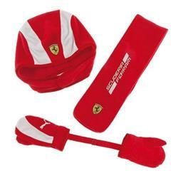 Conjunto niño Ferrari gorro, bufanda y manoplas talla S